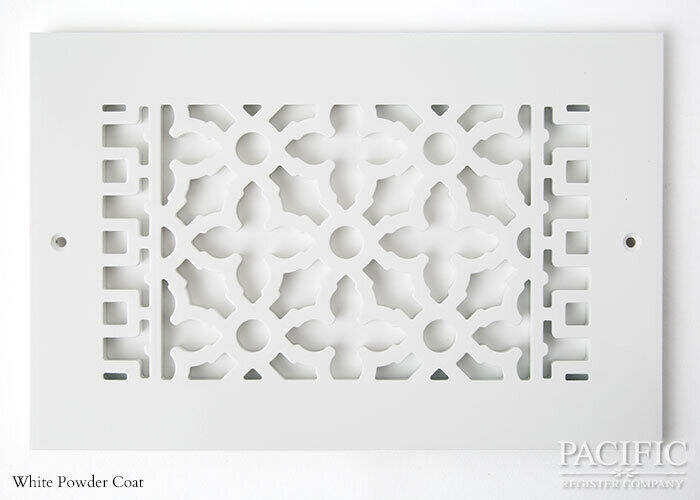 Cast Aluminum Vent Covers Victorian Pattern white